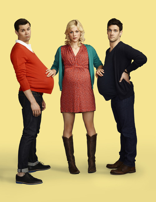 Andrew Rannells as Bryan, Georgia King as Goldie, Justin Bartha as David. Courtesy Robert Trachtenberg  |  NBC