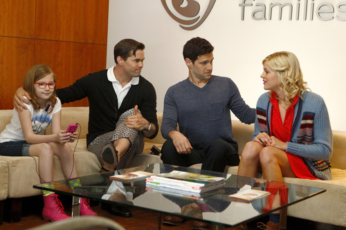 Bebe Wood as Shania; Andrew Rannells as Bryan; Justin Bartha as David; Georgia King as Goldie. Courtesy Trae Patton  |  NBC