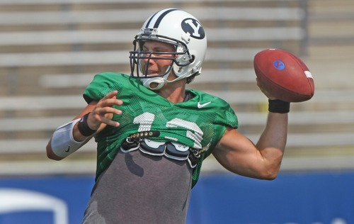 Rick Egan    The Salt Lake Tribune   BYU quarterback Riley Nelson looks to throw the ball during the football scrimmage at LaVell Edwards Stadium, Thursday, August 16, 2012.