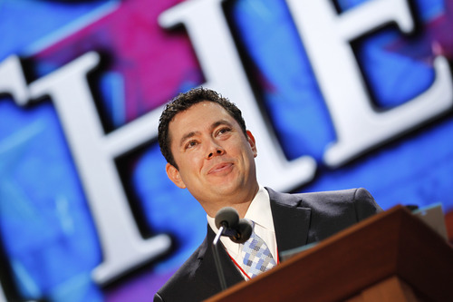 Rep. Jason Chaffetz, R-Utah, stands on the stage during preparation for the Republican National Convention festivities inside the Tampa Bay Times Forum, Saturday, Aug. 25, 2012, in Tampa, Fla.  (AP Photo/J. Scott Applewhite)