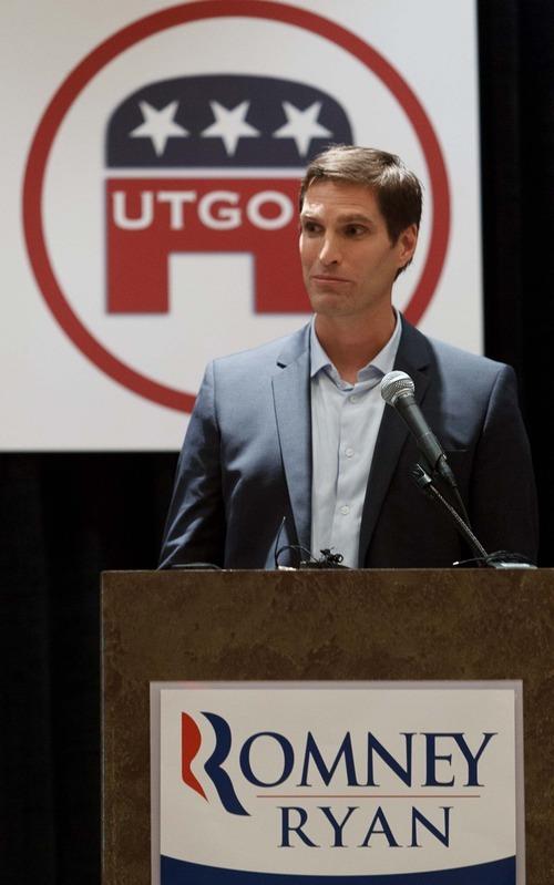 Trent Nelson  |  The Salt Lake Tribune Mitt Romney's son Josh Romney speaks to the Utah delegation at a breakfast honoring Senator Orrin Hatch (