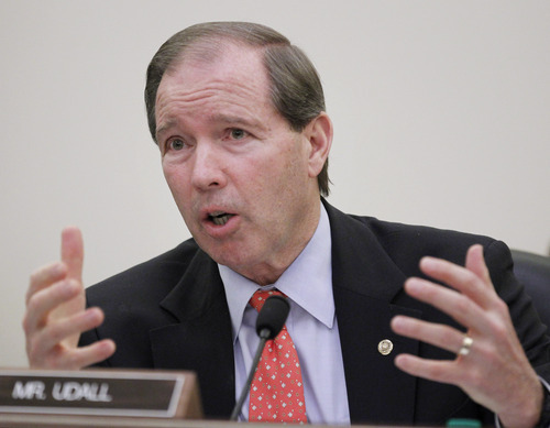 Senate Commerce Committee member Sen. Tom Udall, D-N.M., question a panel of witnesses on Capitol Hill in Washington, Wednesday, Feb. 16, 2011, during the committee's hearing on 'Safeguarding Our Future: Building a Nationwide Network for First Responders' .    (AP Photo/Manuel Balce Ceneta)