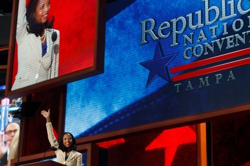 Trent Nelson     The Salt Lake Tribune Utah congressional candidate Mia Love was introduced to a national audience Tuesday at the Republican National Convention in Tampa, Fla.