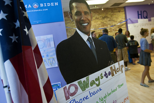 Chris Detrick  |  The Salt Lake Tribune A cardboard cutout of President Obama at the Utah headquarters for the Obama for President campaign located at 175 West 200 South in Salt Lake City Tuesday August 28, 2012.