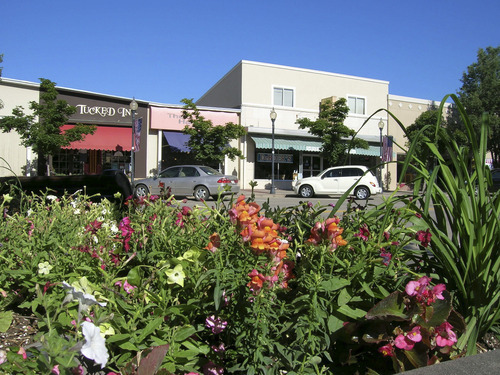 Photo #5 – Overflowing flower beds line the sidewalks along BountifulÂ's Main Street in this 2005 photo.  Photo taken 18 July 2005 by Janine S. Creager.