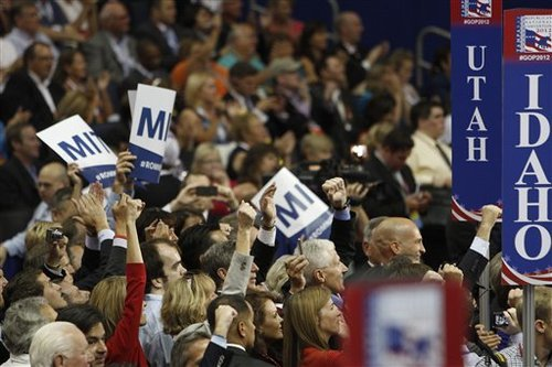 Delegates for Utah casts their votes for presidential candidate Mitt Romney during the Republican National Convention in Tampa, Fla., on Tuesday, Aug. 28, 2012. (AP Photo/Lynne Sladky)