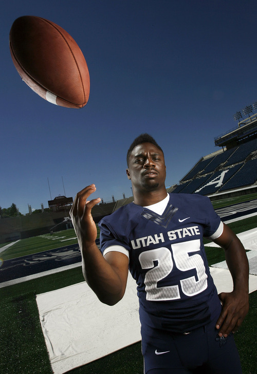 Francisco Kjolseth  |  The Salt Lake Tribune Kerwynn Williams with Utah State University attends Media Day at Romney Stadium in Logan on Thursday, August 2, 2012, in preperation for football season.