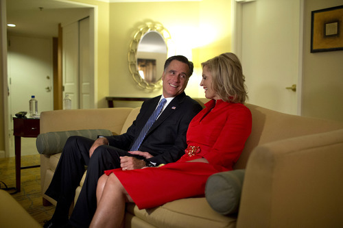 Republican presidential candidate, former Massachusetts Gov. Mitt Romney and his wife Ann, watch the Republican National Convention from their hotel room on Tuesday, Aug. 28, 2012 in Tampa, Fla.  (AP Photo/Evan Vucci)