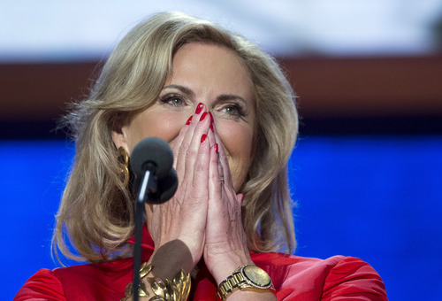 Ann Romney, wife of Republican presidential candidate, former Massachusetts Gov. Mitt Romney arrives on stage to deliver a speech at the Republican National Convention on Tuesday, Aug. 28, 2012 in Tampa, Fla.  (AP Photo/Evan Vucci)