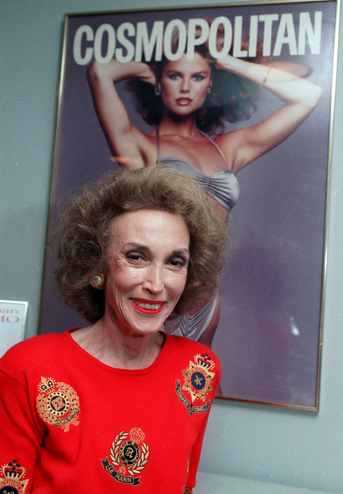 FILE - This 1990 file photo shows Cosmopolitan magazine editor Helen Gurley Brown in her New York office. Brown, longtime editor of Cosmopolitan magazine, died Monday, Aug. 13, 2012 at a hospital in New York after a brief hospitalization. She was 90. (AP Photo/Marty Lederhandler, File)