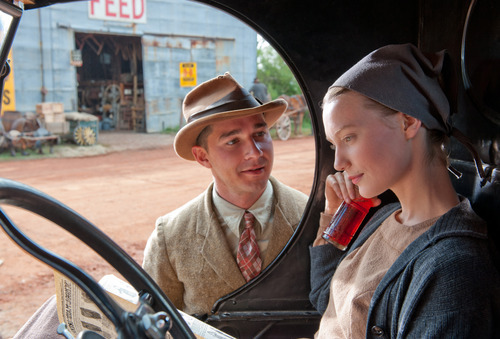 This film image released by The Weinstein Company shows Shia LaBeouf, left, and Mia Wasikowska in a scene from