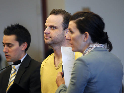 Al Hartmann     The Salt Lake Tribune   Accused date-rapist Greg Peterson appears in Judge Judith Atherton's Fourth District Court in Salt Lake City Friday July 27 to schedule a preliminary hearing with lawyers Gerald Salcido, left, and Cara Tangaro, right.