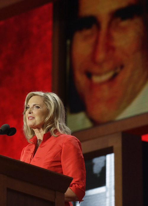 Ann Romney, wife of U.S. Republican presidential nominee Mitt Romney, addresses the Republican National Convention in Tampa, Fla., on Tuesday, Aug. 28, 2012. (AP Photo/Charles Dharapak)