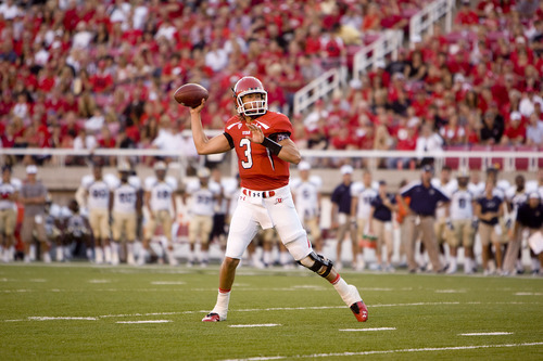 Trent Nelson  |  The Salt Lake Tribune  Utah Utes quarterback Jordan Wynn (3) looks for a reciever in the first quarter as Utah takes on Montana State at Rice-Eccles Stadium Thursday, Sept. 1, 2011.