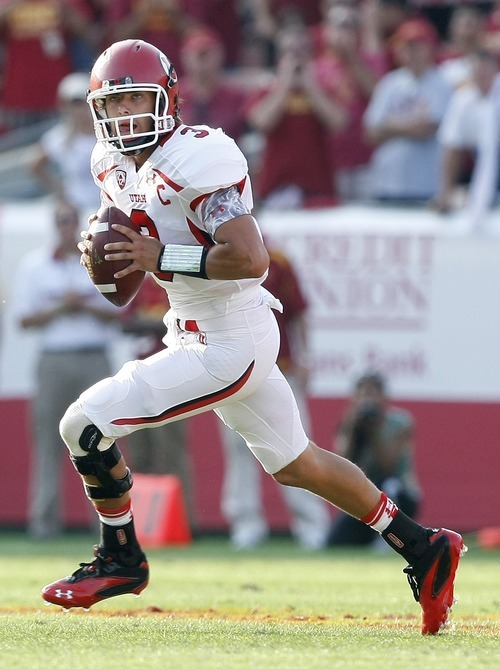 Chris Detrick  |  The Salt Lake Tribune Utah Utes quarterback Jordan Wynn (3) during the game at the Los Angeles Memorial Coliseum Saturday September 10, 2011.  USC won the game 17-14.