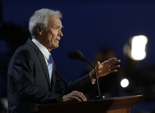 Actor Clint Eastwood speaks to delegates during the Republican National Convention in Tampa, Fla., on Thursday, Aug. 30, 2012. (AP Photo/Charlie Neibergall)