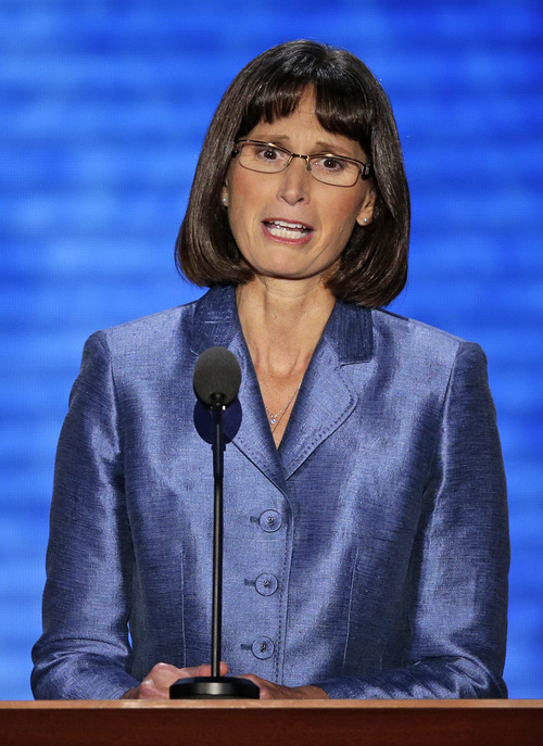 Pam Finlayson addresses the Republican National Convention in Tampa, Fla., on Thursday, Aug. 30, 2012. (AP Photo/J. Scott Applewhite)
