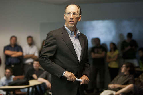 Chris Detrick  |  The Salt Lake Tribune Neumont University President Edward Levine speaks at Neumont University Wednesday August 29, 2012. Levine is going to court to against a college review web site, alleging it posts only negative comments about his small for-profit school.