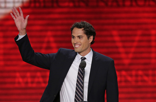 Craig Romney son of Republican presidential nominee Mitt Romney addresses the Republican National Convention in Tampa, Fla., on Thursday, Aug. 30, 2012. (AP Photo/J. Scott Applewhite)