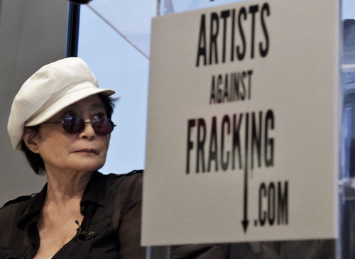 Yoko Ono appears at a news conference to launch the coalition of artists opposing hydraulic fracturing on Wednesday, Aug. 29, 2012 in New York.  The formation of the group, called Artists Against Fracking, comes as New York Gov. Andrew Cuomo decides whether to allow shale gas drilling using high-volume hydraulic fracturing called hydrofracking. The group says such drilling is harmful and poses the threat of contamination. They say they want to spread awareness of the issue through