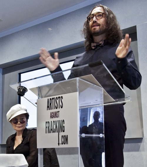 Yoko Ono, left, listens as her son Sean Lennon speaks during a news conference to launch a coalition of artists opposing hydraulic fracturing on Wednesday, Aug. 29, 2012 in New York. The formation of the group, called Artists Against Fracking, comes as New York Gov. Andrew Cuomo decides whether to allow shale gas drilling using high-volume hydraulic fracturing called hydrofracking. The group says such drilling is harmful and poses the threat of contamination. They say they want to spread awareness of the issue through
