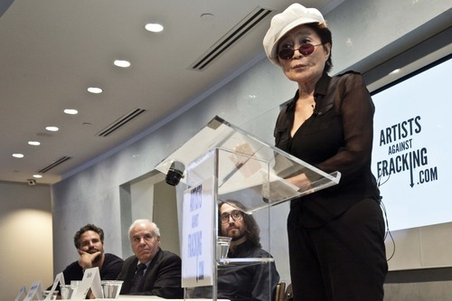 Actor and activist Mark Ruffalo, far left, Cornell University engineering professor Anthony Ingraffea, second from left, and Sean Lennon, second from right, listens as Yoko Ono speaks during a press conference to launch a coalition of artists opposing hydraulic fracturing on Wednesday, Aug. 29, 2012 in New York. The formation of the group, called Artists Against Fracking, comes as New York Gov. Andrew Cuomo decides whether to allow shale gas drilling using high-volume hydraulic fracturing called hydrofracking. The group says such drilling is harmful and poses the threat of contamination. They say they want to spread awareness of the issue through