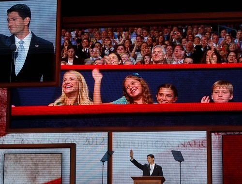 Trent Nelson     The Salt Lake Tribune Paul Ryan, the nominee for Vice President, waves to his wife and children during his speech at the Republican National Convention in Tampa, Florida, Wednesday, August 29, 2012.