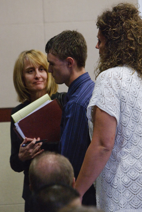 Leah Hogsten  |  The Salt Lake Tribune Dallin Todd Morgan, the 18-year-old Roy High School student accused of plotting to bomb the school in January, leaves the courtroom flanked by his attorney Brenda Beaton, left, and his mother. Morgan pleaded no contest to reduced charge of second-degree felony criminal mischief on Thursday before Second District Judge Michael Lyon in Ogden. Morgan was originally charged with one count of first-degree felony possession of weapon of mass destruction, which is punishable by up to life. The criminal mischief count is punishable by up to 15 years in prison. Lyon immediately sentenced Morgan to 18 months probation, 105 days in jail and a $500 fine. If Morgan successfully completes probation, the charge will be amended to class A misdemeanor.