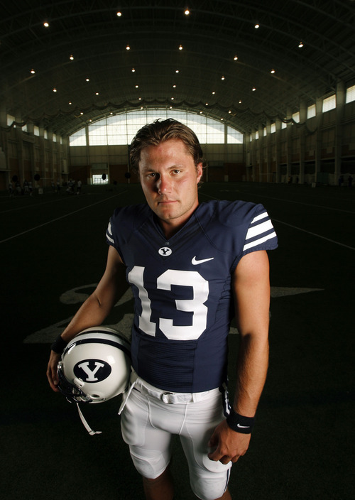 Francisco Kjolseth  |  The Salt Lake Tribune BYU football's annual media day gets ready to showcase the team throughout the season, including Riley Nelson #13 on Tuesday, August 7, 2012, at the indoor practice facility.
