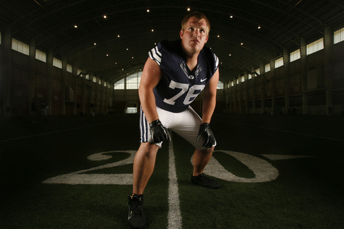 Francisco Kjolseth  |  The Salt Lake Tribune BYU football's annual media day gets ready to showcase the team throughout the season, including Braden Hansen #76 on Tuesday, August 7, 2012, at the indoor practice facility.