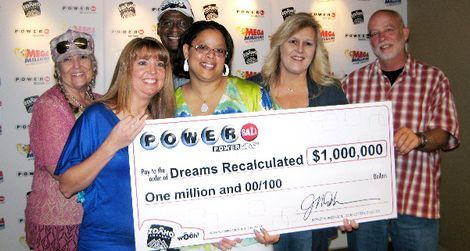 Courtesy Idaho Lottery Nine co-workers from Hill Air Force Base are sharing a $1 million Powerball prize from the Idaho Lottery. Several claimed their prize Friday in Boise, including Paulene Coleman, left, Michelle Allgaier, Curtis Sanders, Ju Nare Cope, Candy Davis and Marty Kessler.