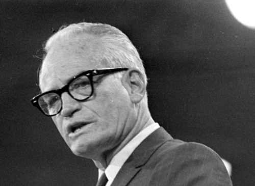 FILE - In this Aug. 6, 1968 black-and-white file photo, 1964 Republican presidential candidate, Barry Goldwater, addresses the Republican National Convention in Miami Beach. Mitt Romney did not mention the war in Afghanistan, where 79,000 US troops are fighting, in his speech accepting the Republican presidential nomination on Thursday. The last time a Republican presidential nominee did not address war was 1952, when Dwight Eisenhower spoke generally about American power and spreading freedom around the world but did not explicitly mention armed conflict. Below are examples of how other Republican nominees have addressed the issue over the years, both in peacetime and in war. (AP Photo/File