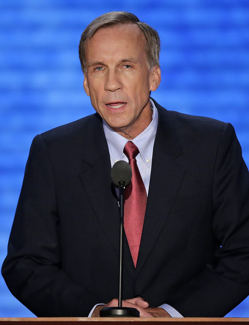 Grant Bennett addresses the Republican National Convention in Tampa, Fla., on Thursday, Aug. 30, 2012. (AP Photo/J. Scott Applewhite)