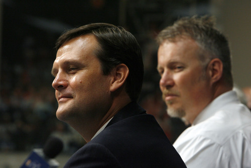 Francisco Kjolseth  |  The Salt Lake Tribune The Utah Jazz officially name Dennis Lindsey, left, as their new general manager during a press announcement at the Jazz practice facility on Tuesday, August 7, 2012. Also pictured is CEO Greg Miller.