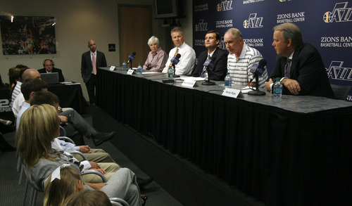 Francisco Kjolseth  |  The Salt Lake Tribune The Utah Jazz officially name Dennis Lindsey, center, as their new general manager during a press announcement at the Jazz practice facility on Tuesday, August 7, 2012. Jazz owner Gail Miller and CEO Greg Miller attended the event, sharing the stage with Kevin O'Connor and president Randy Rigby, at right.