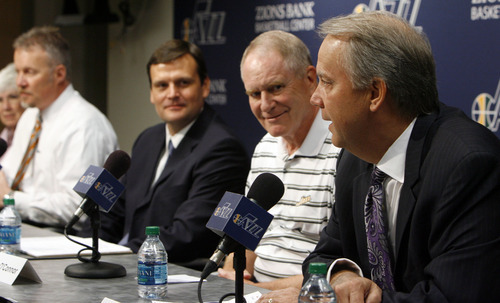 Francisco Kjolseth  |  The Salt Lake Tribune The Utah Jazz officially name Dennis Lindsey, center left, as their new general manager during a press announcement at the Jazz practice facility on Tuesday, August 7, 2012. Jazz owner Gail Miller and CEO Greg Miller attended the event, sharing the stage with Kevin O'Connor, Lindsey and president Randy Rigby, at right.