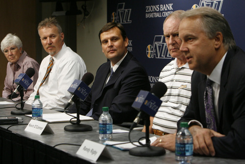 Francisco Kjolseth  |  The Salt Lake Tribune The Utah Jazz officially name Dennis Lindsey, center, as their new general manager during a press announcement at the Jazz practice facility on Tuesday, August 7, 2012. Jazz owner Gail Miller and CEO Greg Miller attended the event, sharing the stage with Kevin O'Connor, Lindsey and president Randy Rigby, at right.