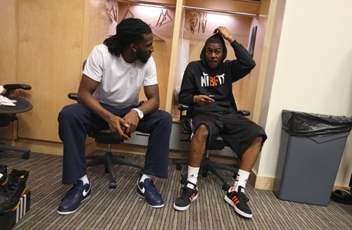 Lennie Mahler  |  The Salt Lake Tribune DeMarre Carroll and Alec Burks chat during locker clean-out day at EnergySolutions Arena on Monday, May 8, 2012.
