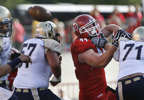 Scott Sommerdorf  |  The Salt Lake Tribune              Utah DT Dave Kruger has his eyes on a fumble while trying to get loose from the Northern Colorado offensive line during first quarter play. No. Colo. recovered the bad snap. Utah held a 7-0 lead over Northern Colorado early in the second quarter on Jordan Wynn's 10 yard TD pass to Jake Murphy, Thursday, August 30, 2012.