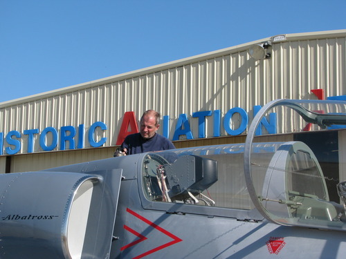 In this 2012 photo provided by Carolyn Verver, Glenn Smith fuels his L-39 at the Historic Aviation Memorial Museum hangar at the Tyler Pounds Regional Airport, in Tyler, Texas. Smith died Saturday, Sept. 2, 2012, when his nearly 30-year-old training plane nosedived during an air show in eastern Iowa and crashed into a field, authorities said. (AP Photo/Carolyn Verver)