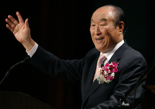 FILE - In this Saturday, June 25, 2005 file photo, Unification Church leader Rev. Sun Myung Moon speaks during his