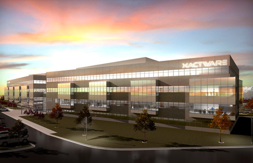 PHOTO COURTESY OF XACTWARE Xactware Solutions Inc. is partnering with a developer to build a 210,000-square-foot office building in Lehi (depicted in a rendering above), a facility that would accommodate a planned expansion of as many as 1,000 workers in the coming years.