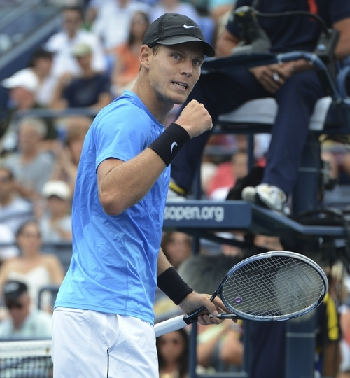 Czech Republic's Tomas Berdych reacts during his match against Spain's Nicolas Almagro in the fourth round of play at the 2012 US Open tennis tournament,  Monday, Sept. 3, 2012, in New York. (AP Photo/Henny Ray Abrams)