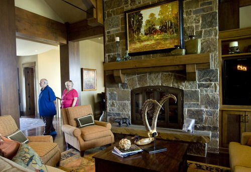 Kim Raff    The Salt Lake Tribune People tour the den of the 5,022-aquare-foot home on Aspen Camp Loop in the Promontory in Park City Utah during the Park City Showcase of Homes  on September 2, 2012.