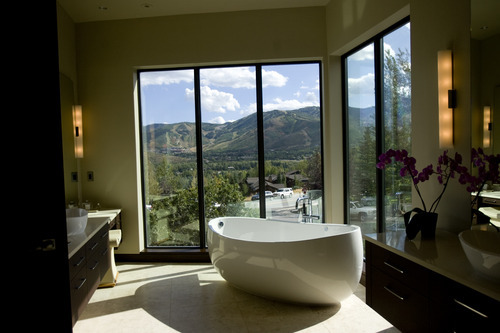 Kim Raff |  The Salt Lake Tribune The master bathroom in the 7,173-square-foot house on Mountain Top Lane in Park City, Utah during the Park City Showcase of Homes on September 2, 2012.