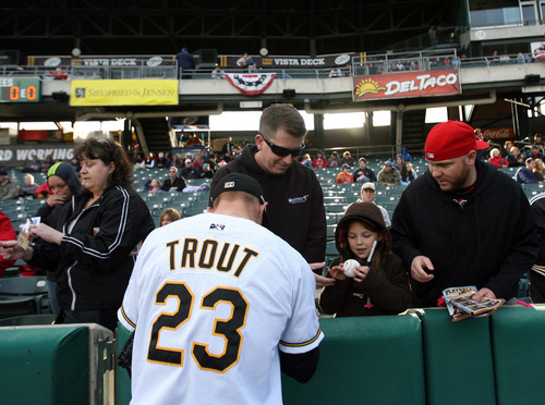 Kim Raff | The Salt Lake Tribune  Mike Trout burned up the Pacific Coast League with the Bees for three weeks before Los Angeles and a possible American League MVP award beckoned.