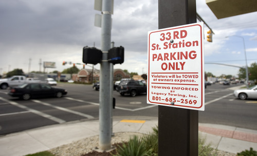 Kim Raff |  The Salt Lake Tribune A sign in the parking lot of 33rd St. Station.