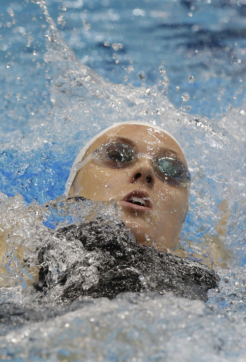 Canada's Summer Ashley Mortimer competes at a women's 100 breaststroke S10 heat at the 2012 Paralympics, Tuesday, Sept. 4, 2012, in London. (AP Photo/Lefteris Pitarakis)