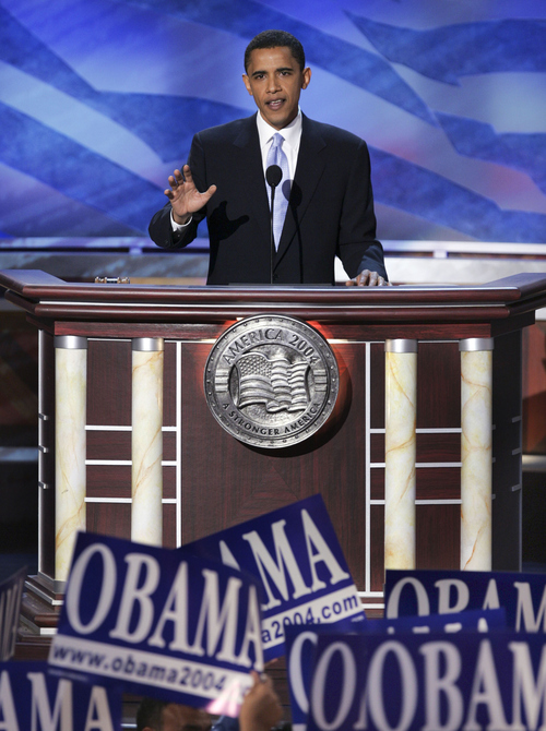 U.S. Senate candidate Barack Obama, a state senator from Illinois, give the keynote address at the Democratic National Convention on Tuesday, July 27, 2004, in Boston. (AP Photo/Ron Edmonds)