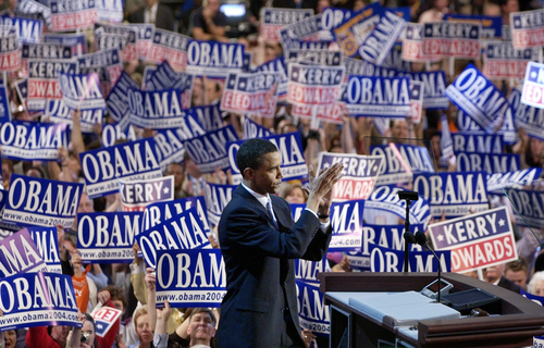 Keynote speaker Barack Obama, candidate for the Senate from Illinois, speaks to delegates during the Democratic National Convention at the FleetCenter in Boston, Tuesday, July 27, 2004. (AP Photo/Charlie Neibergall)